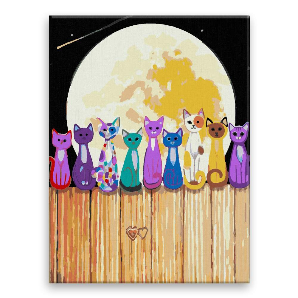 Malování podle čísel Kočky v úplňku