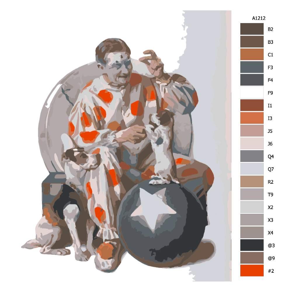 Návod pro malování podle čísel Klaun cvičí štěně