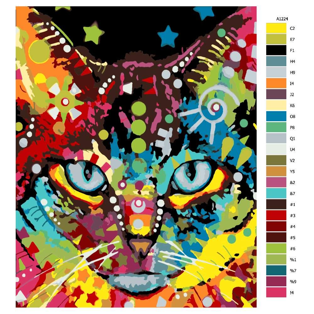Návod pro malování podle čísel Hlava kočky pestrá