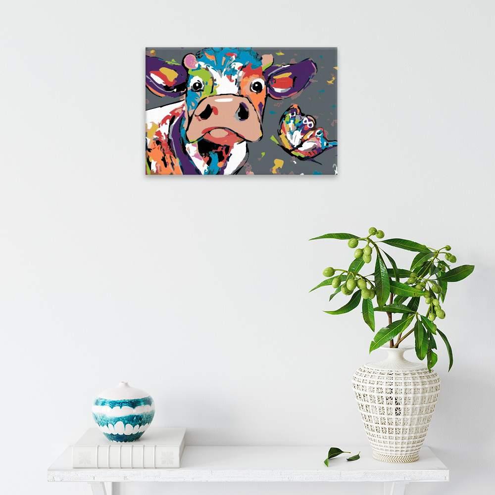 Malování podle čísel Hlava krávy s motýlem