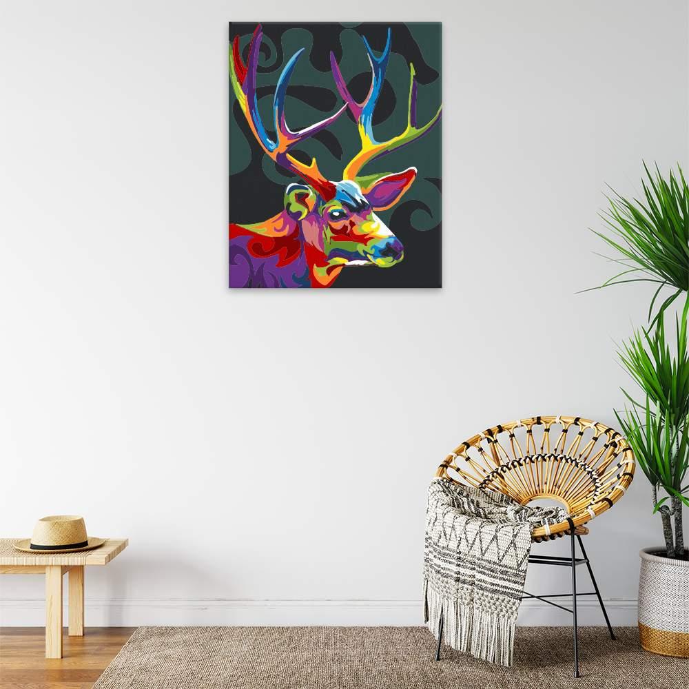 Malování podle čísel Jelení hlava s parožím v barvách