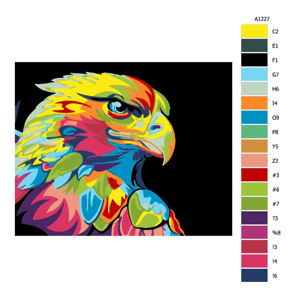 Návod pro malování podle čísel Orlí hlava v barvách