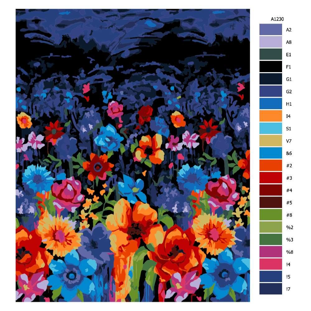 Malování podle čísel Noční pole kvítí