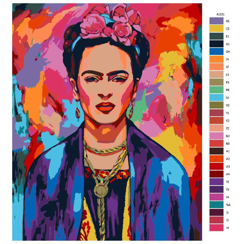 Návod pro malování podle čísel Frida v barvách