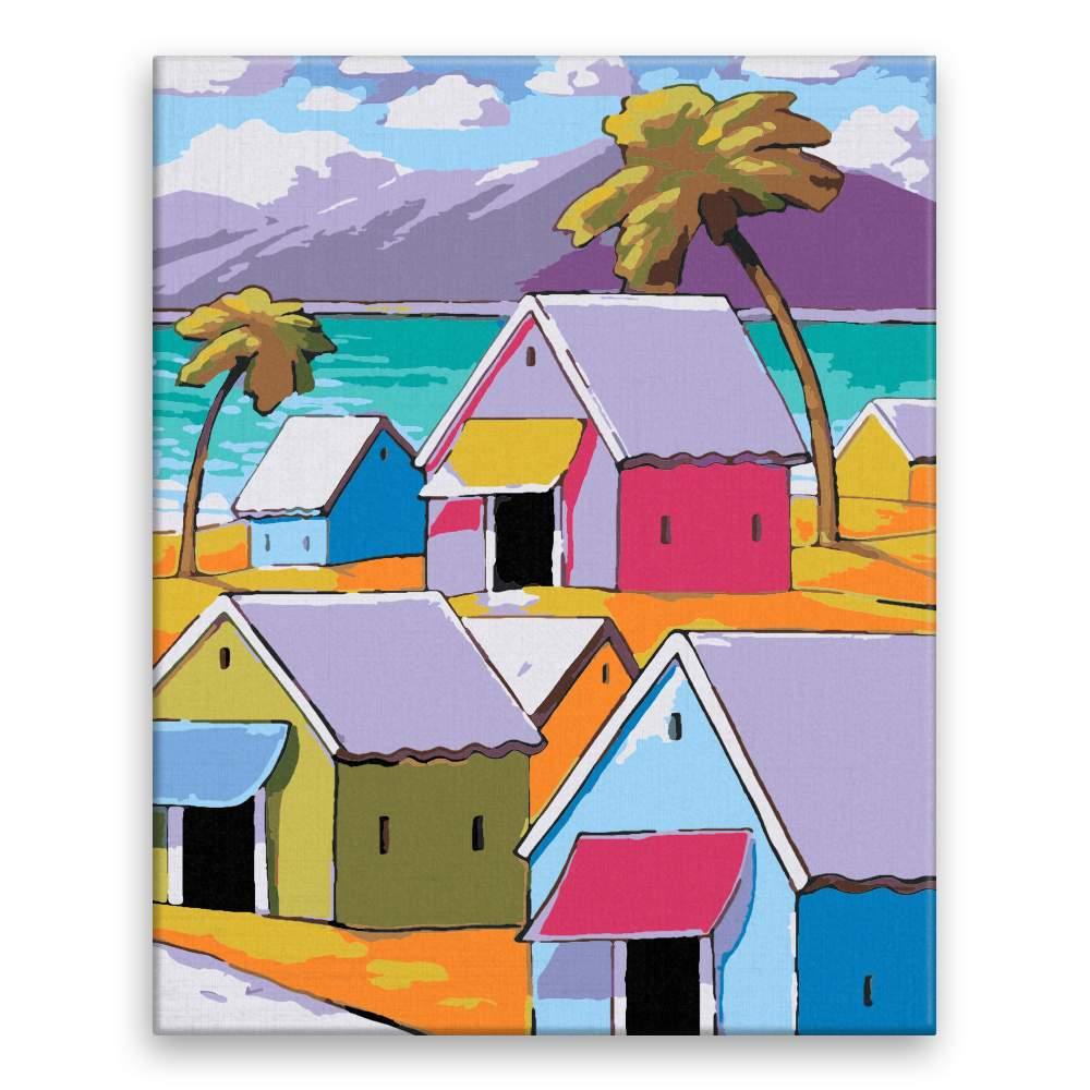 Malování podle čísel Barevné domy