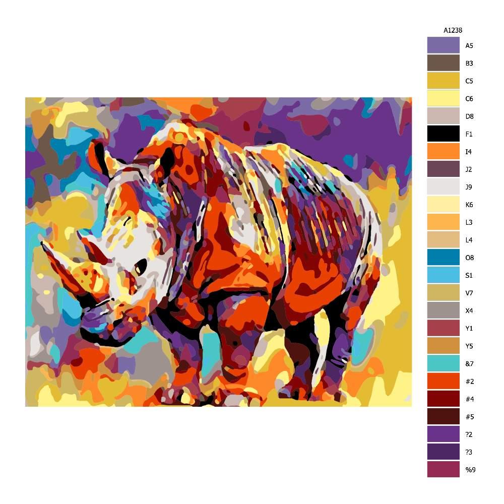 Návod pro malování podle čísel Nosorožec v barvách
