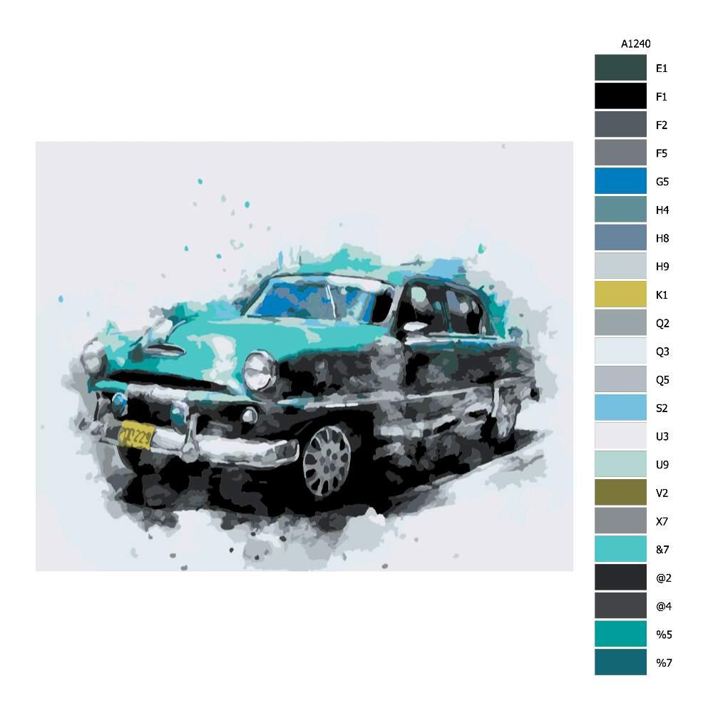 Návod pro malování podle čísel Rozmazané auto