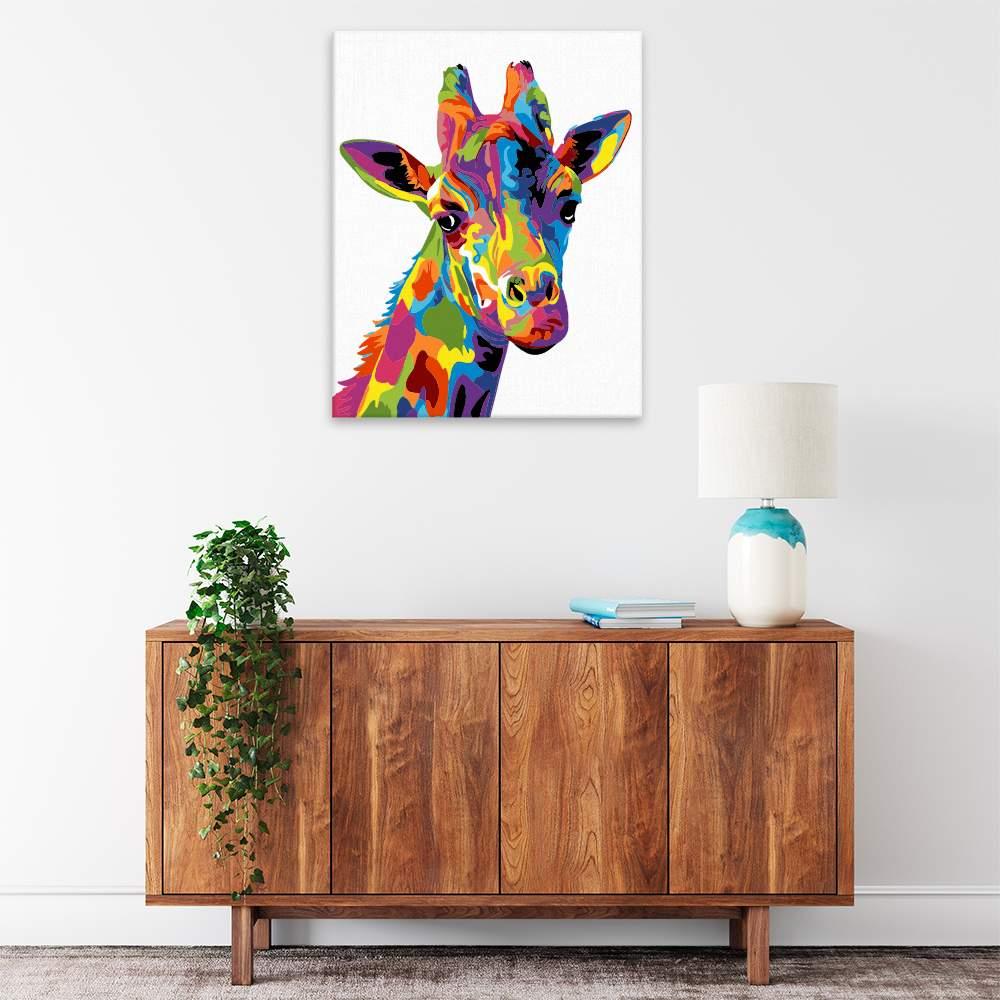 Malování podle čísel Hlava žirafy v barvách