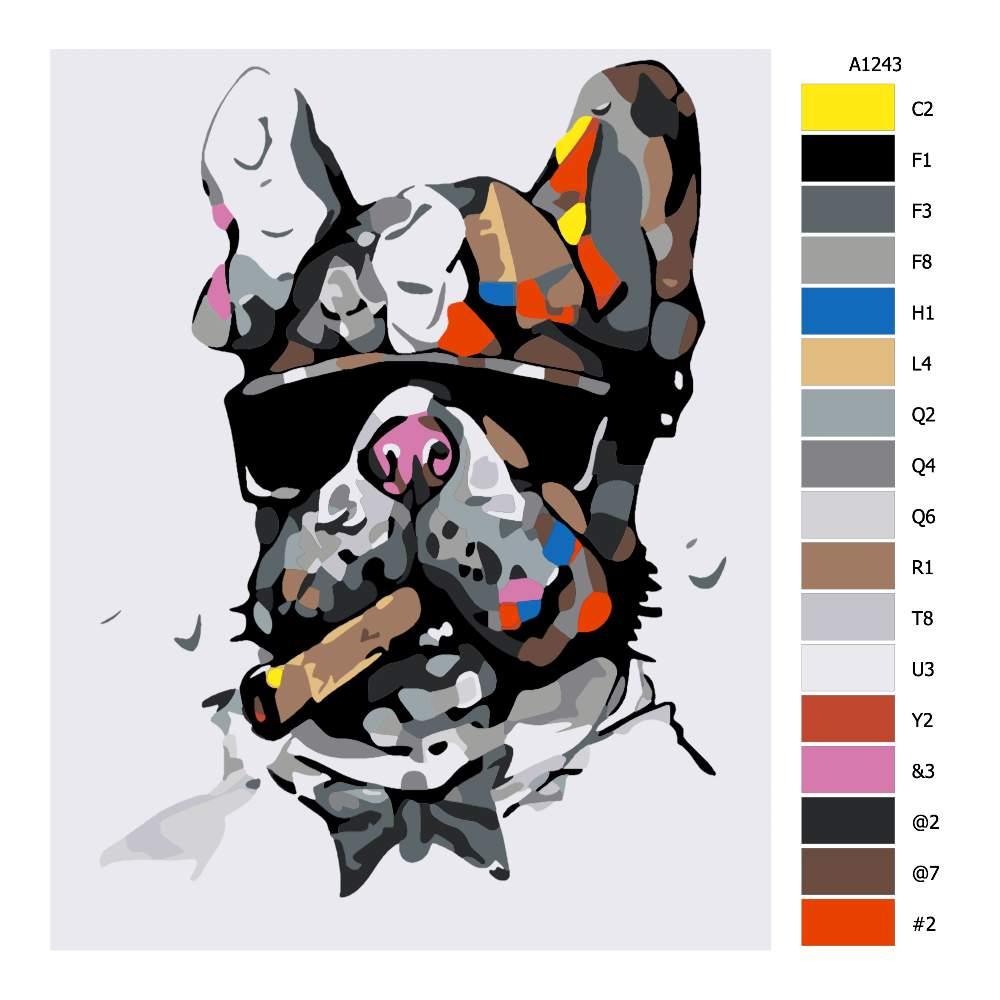 Návod pro malování podle čísel Pes mafián