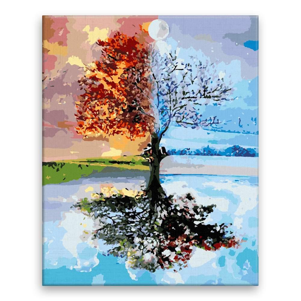 Malování podle čísel Strom ve čtyřech ročních obdobích
