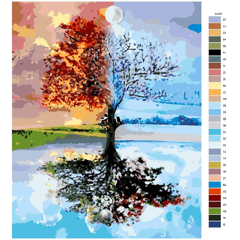 Návod pro malování podle čísel Strom ve čtyřech ročních obdobích
