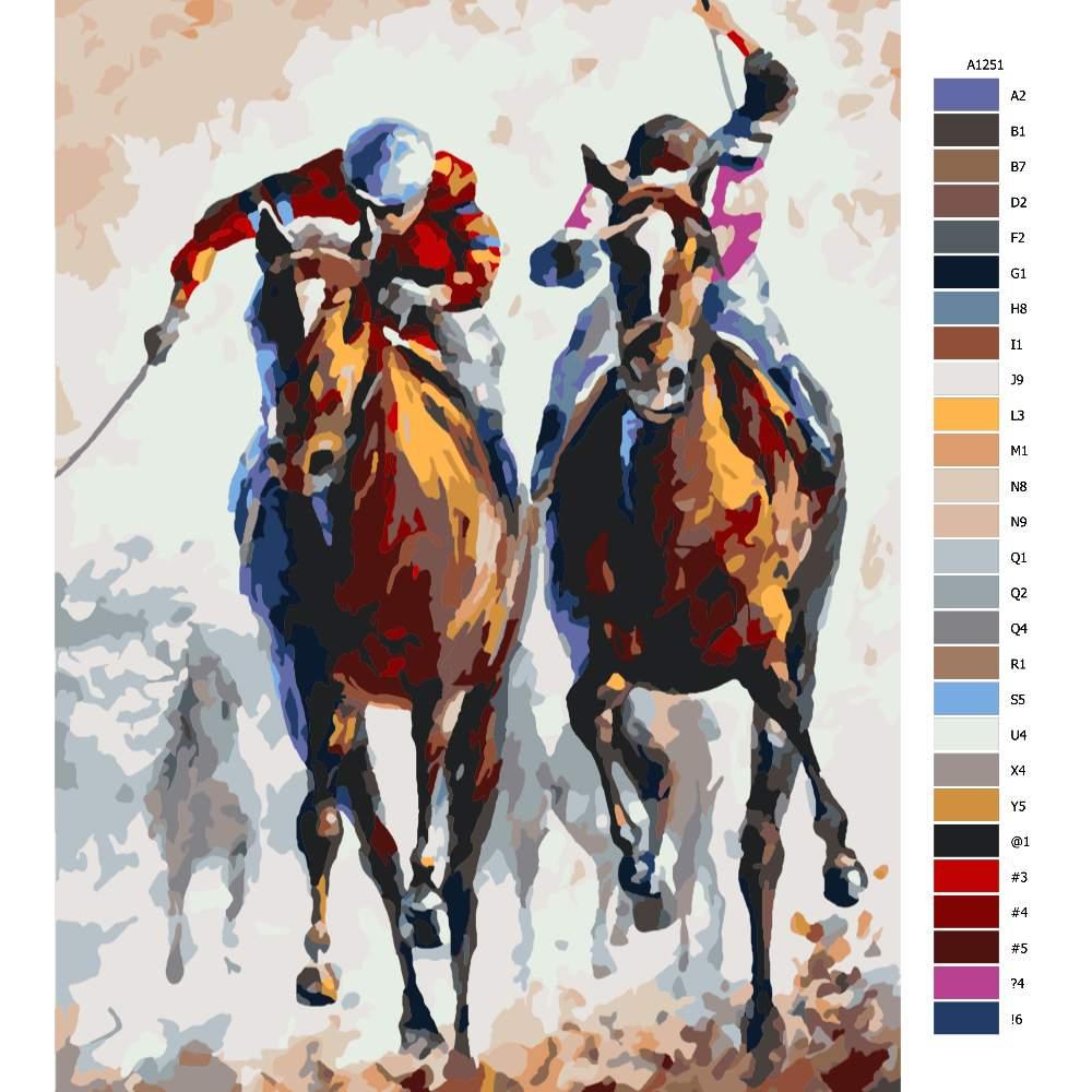 Návod pro malování podle čísel Žokej na koni