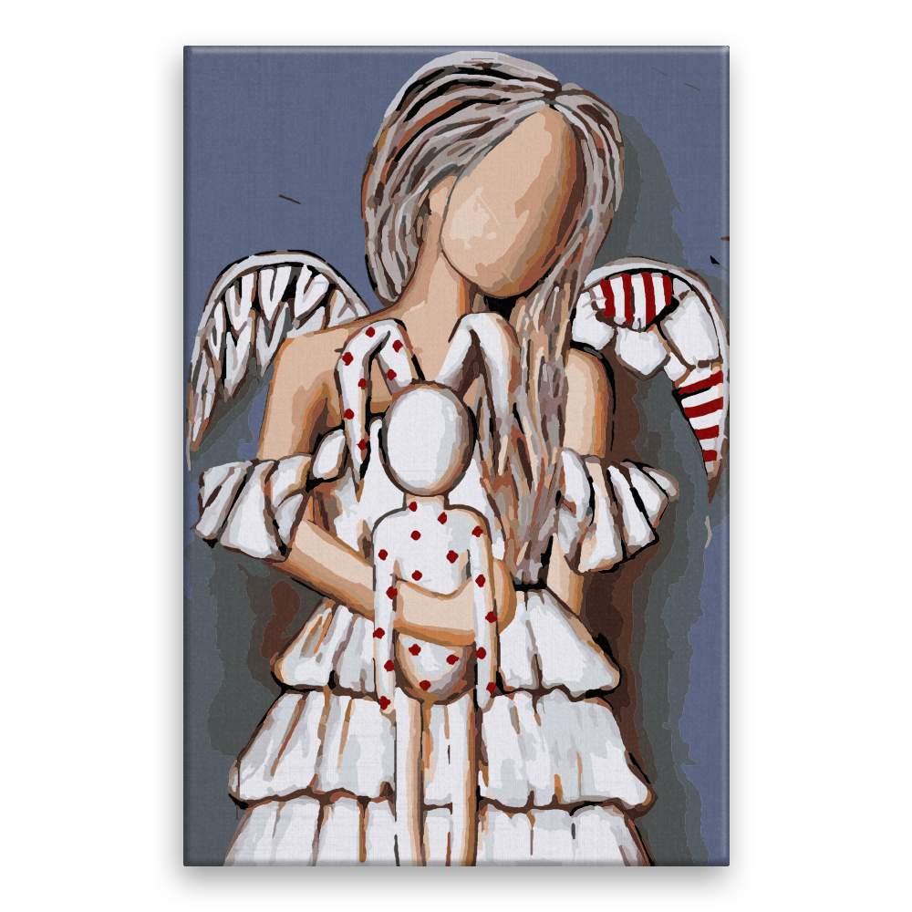 Malování podle čísel Anděl s plyšákem