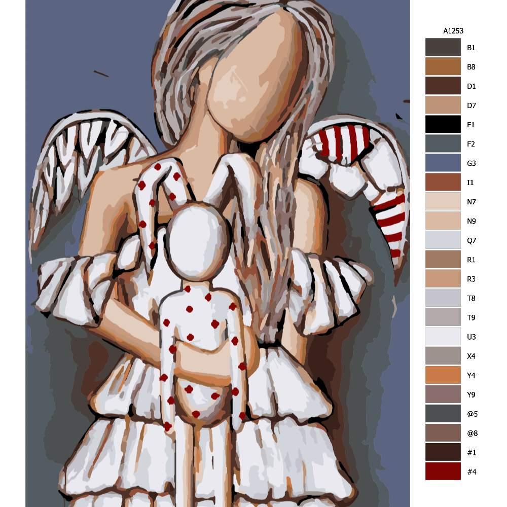 Návod pro malování podle čísel Anděl s plyšákem