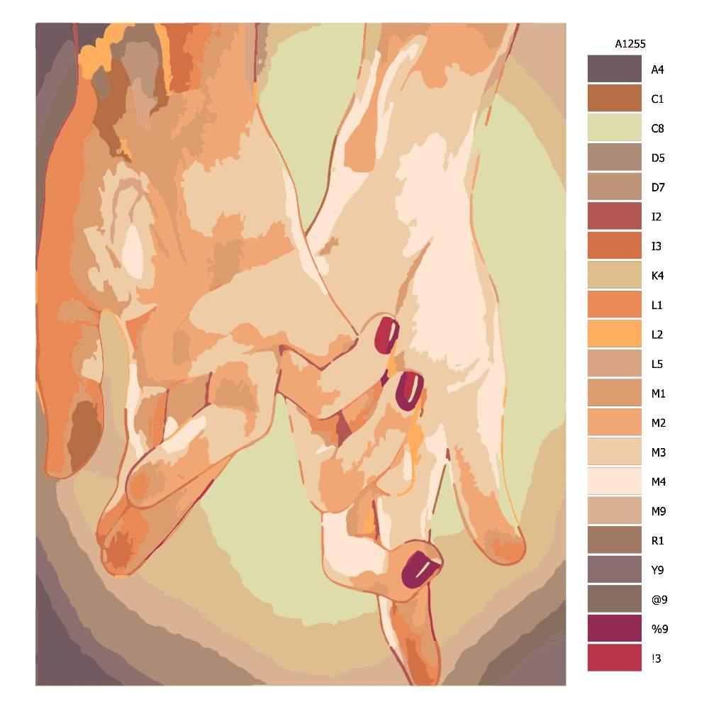 Návod pro malování podle čísel Ruce