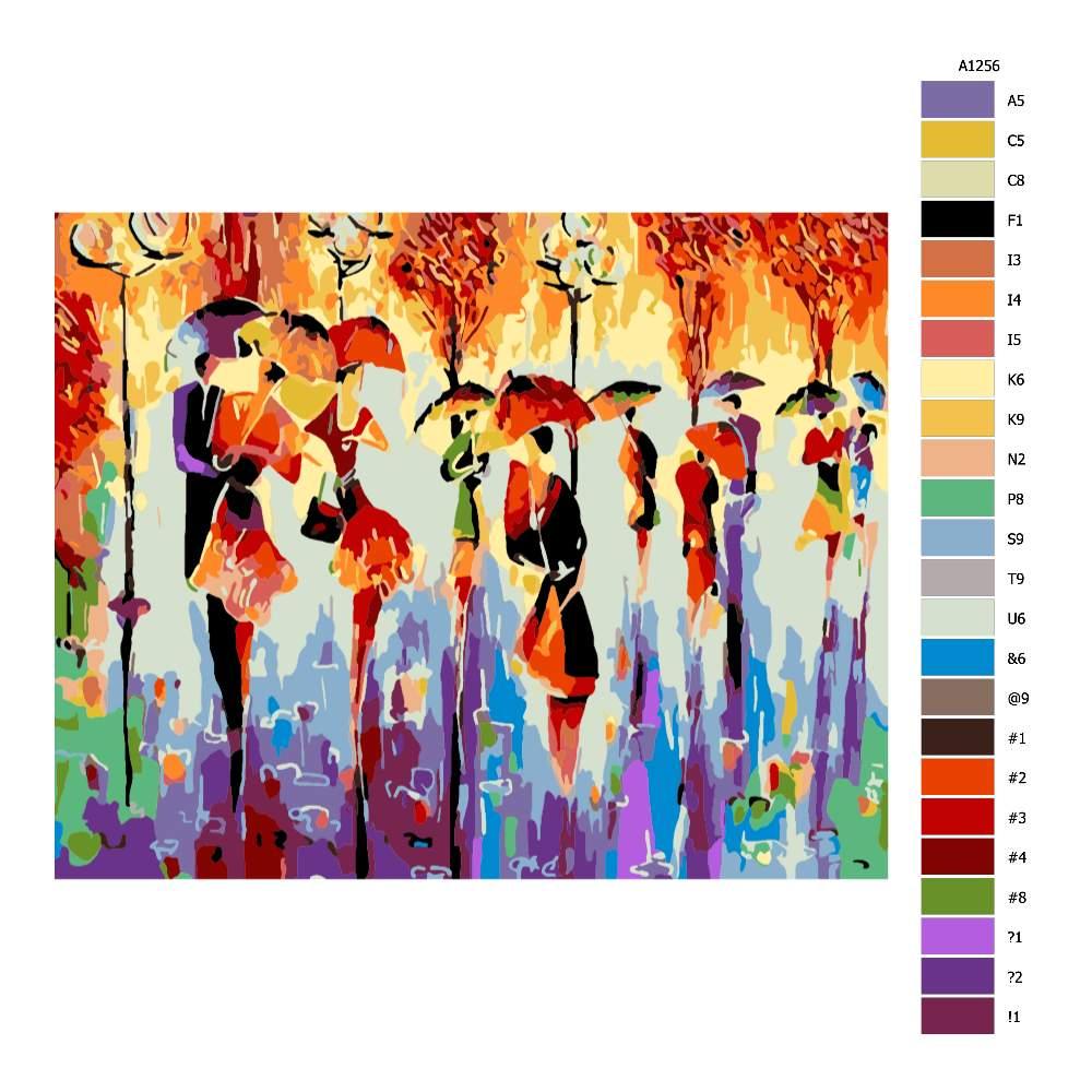 Návod pro malování podle čísel Páry s deštníky