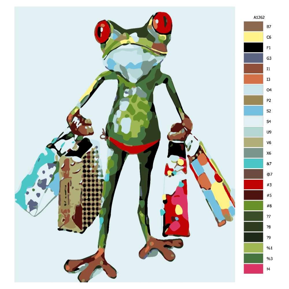 Návod pro malování podle čísel Šílená žába