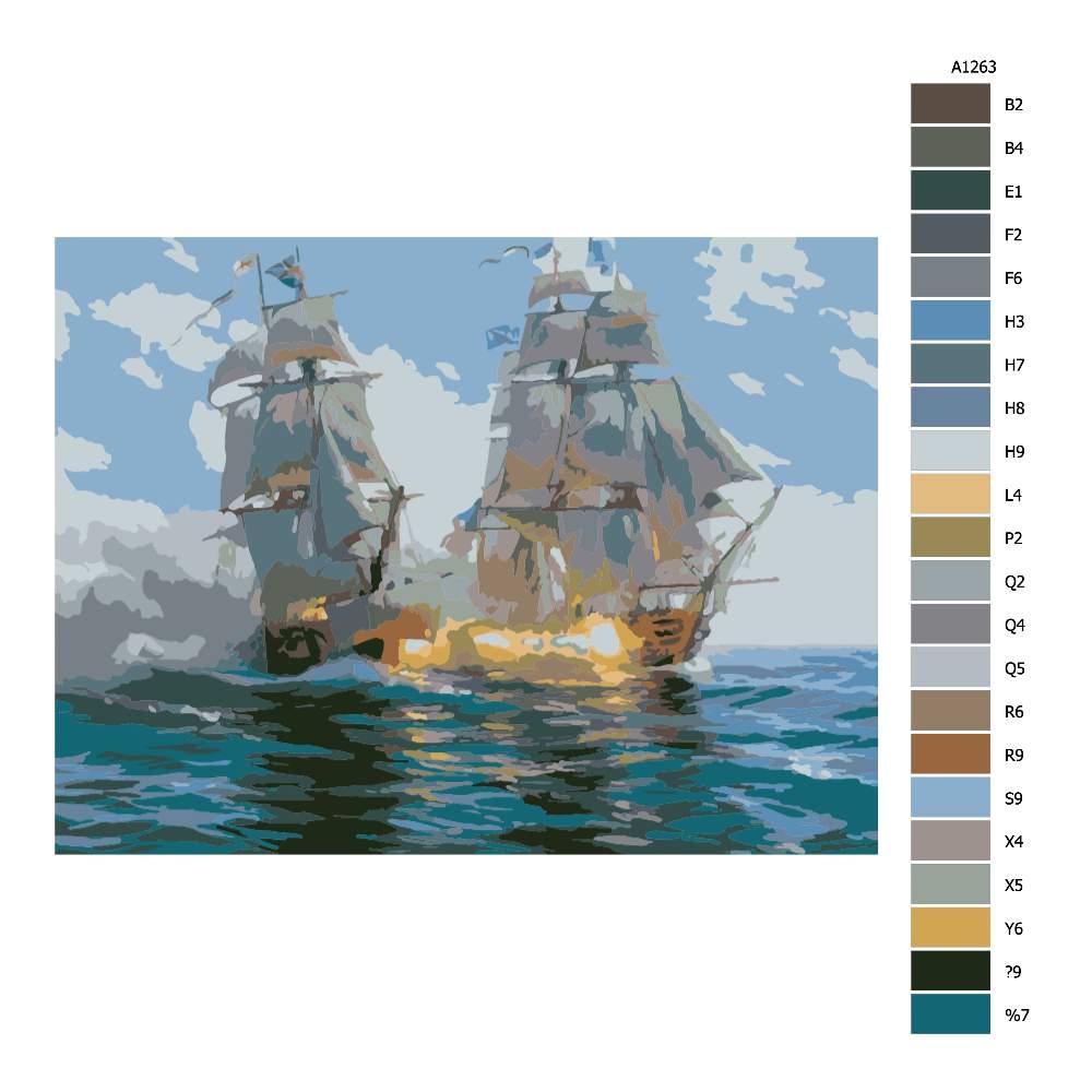 Návod pro malování podle čísel Lodě v boji