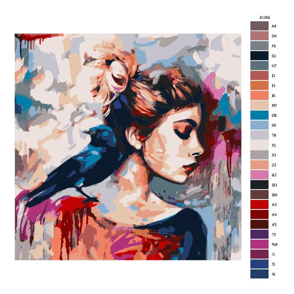 Malování podle čísel Vrána na rameni