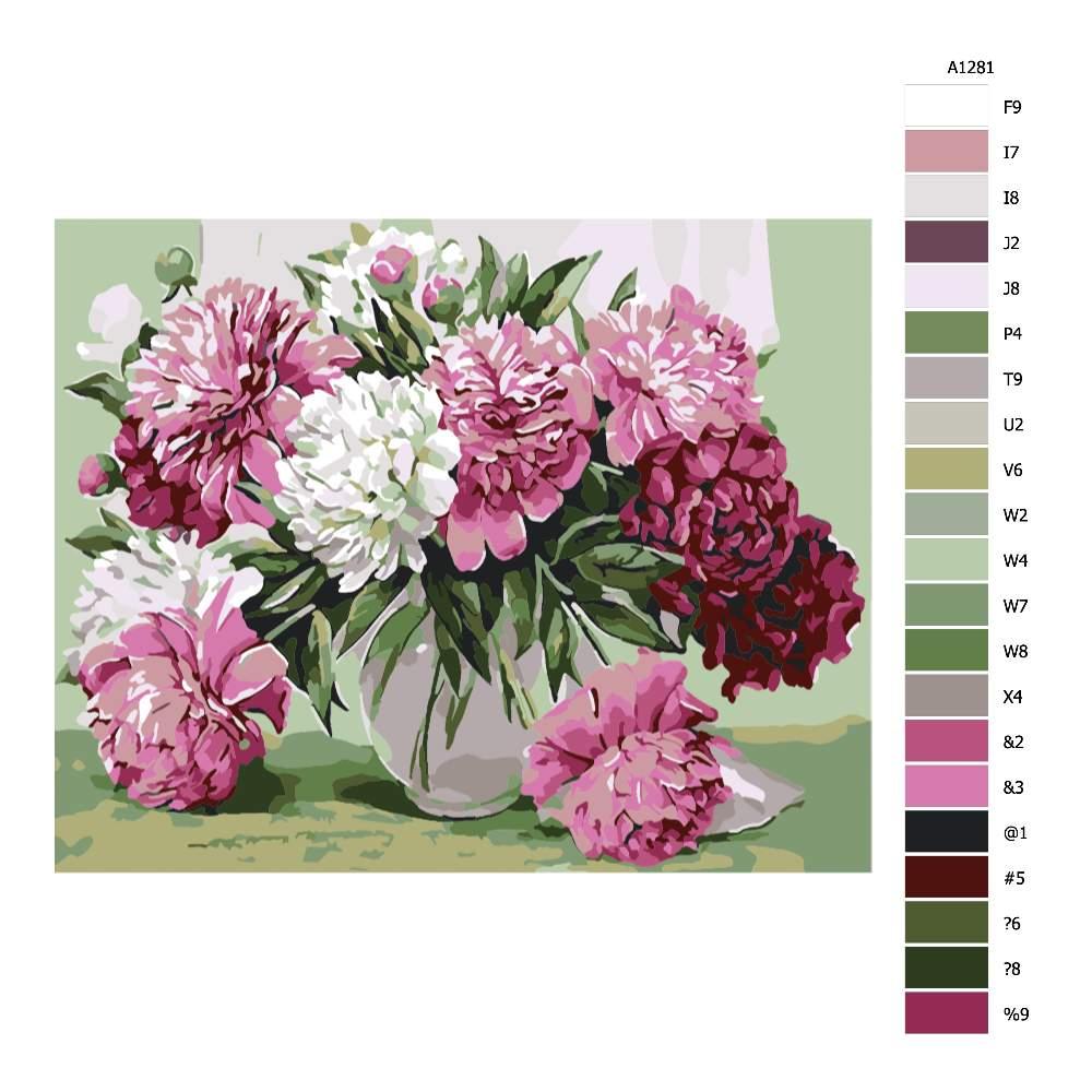Návod pro malování podle čísel Váza plná pivoněk