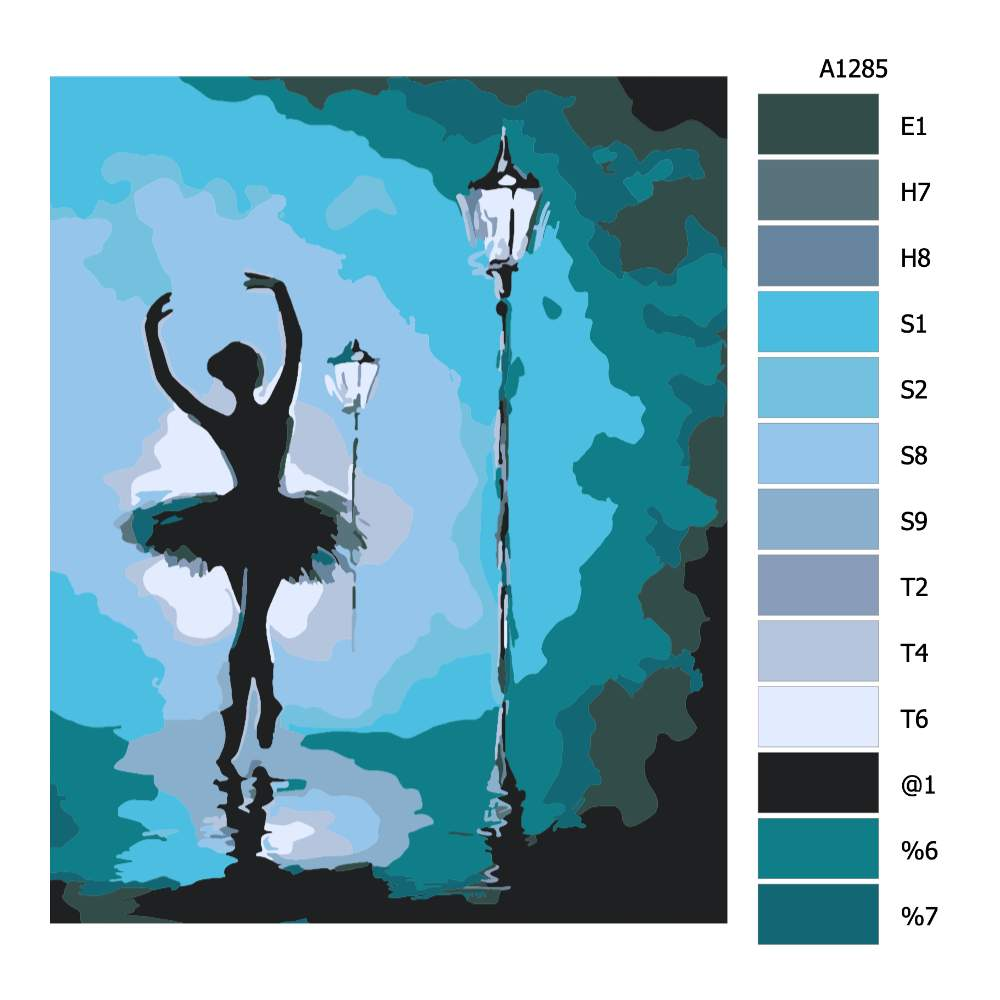 Návod pro malování podle čísel Baletka pod lampou