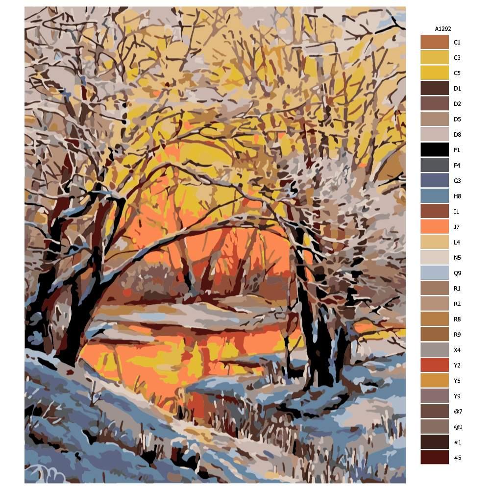 Malování podle čísel Zimní rozbřesk