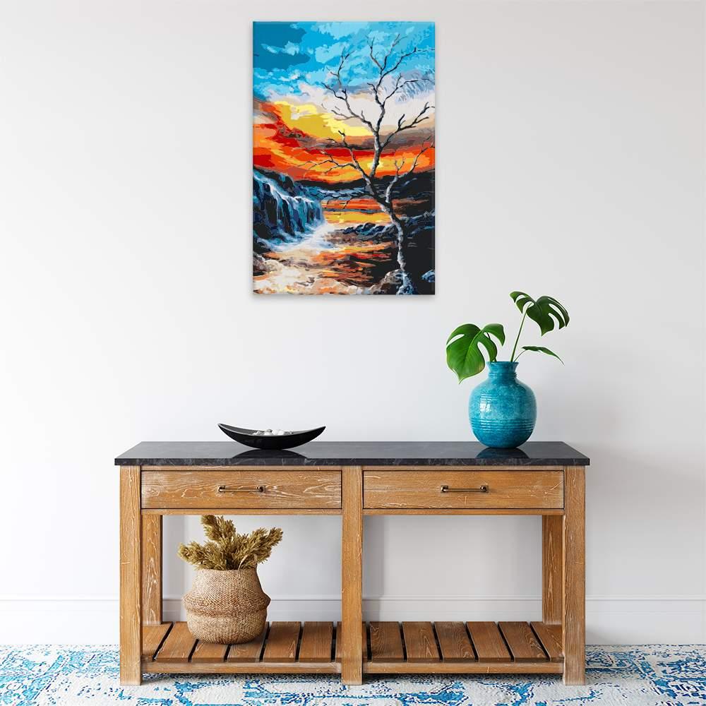 Malování podle čísel Suchý strom nad soumrakem