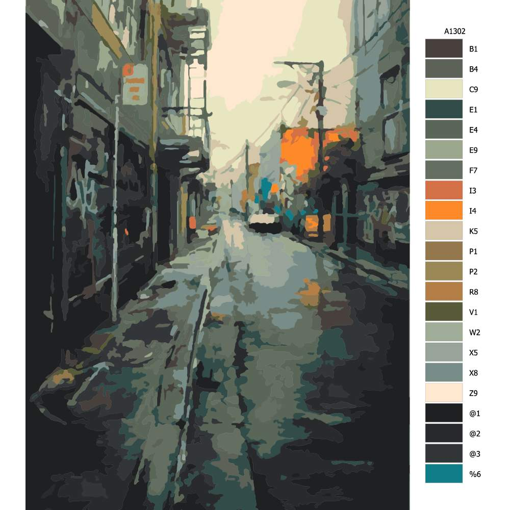 Malování podle čísel Vylidněná ulice