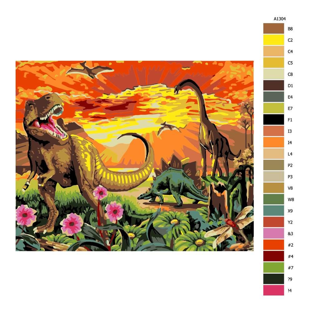 Návod pro malování podle čísel Dinosuři při západu slunce