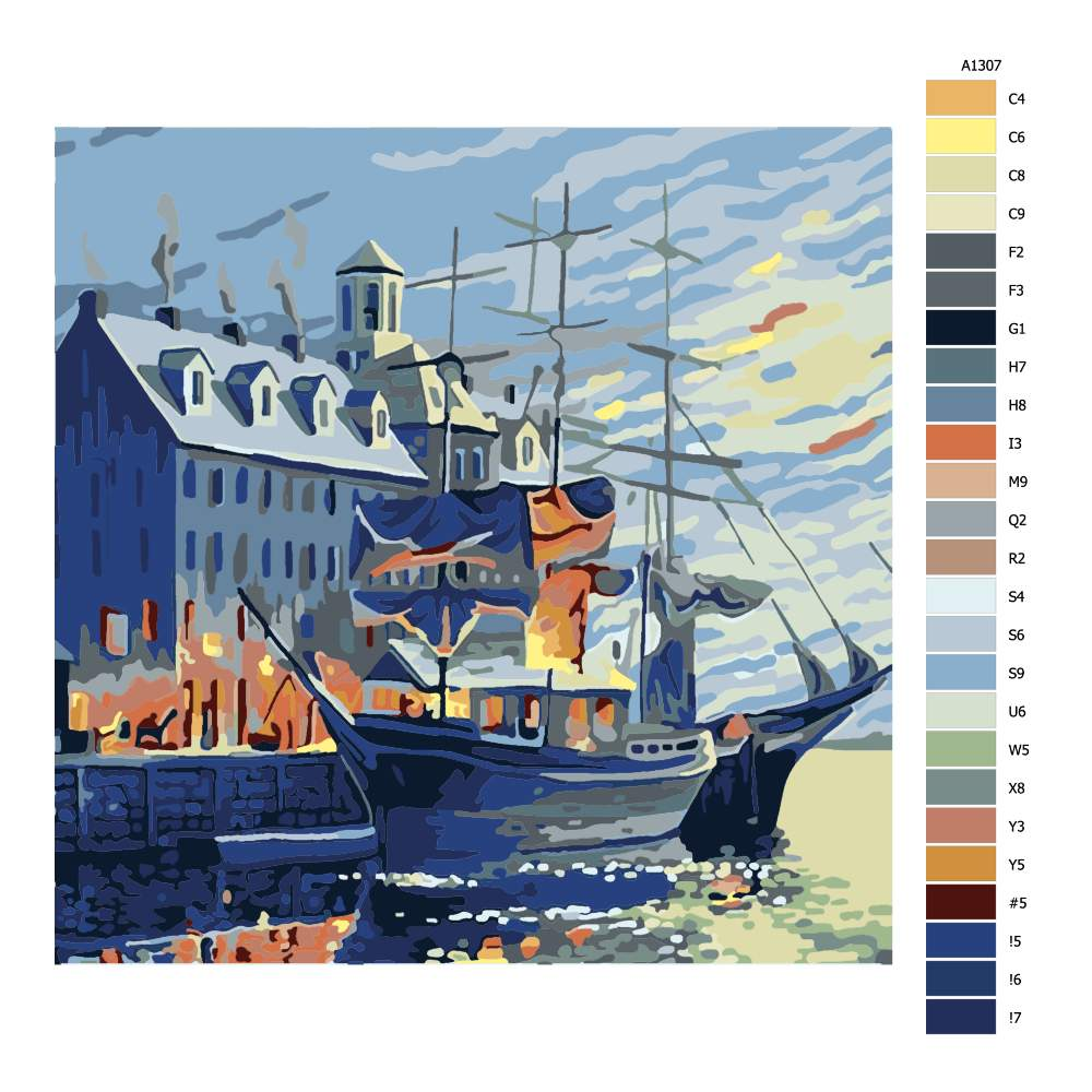 Návod pro malování podle čísel Loď v přístavu