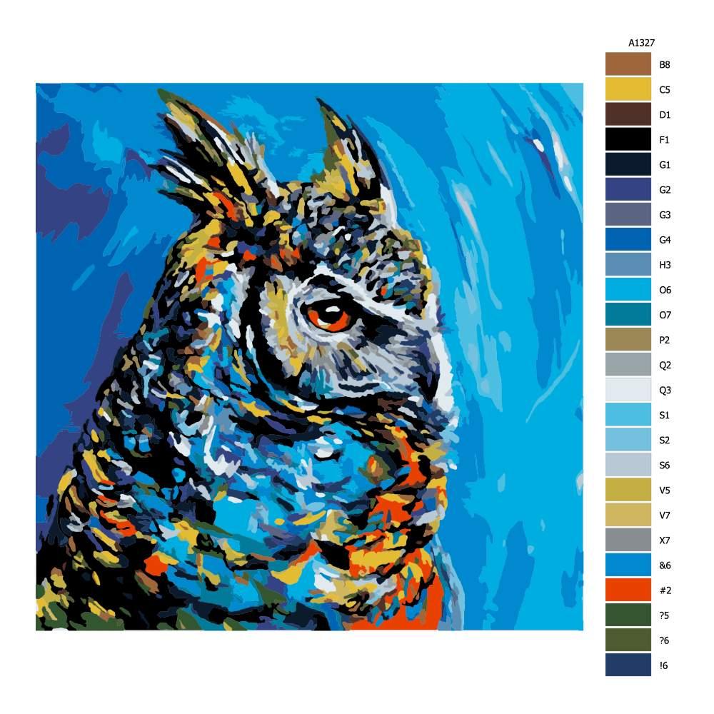 Malování podle čísel Výr velký v barvách