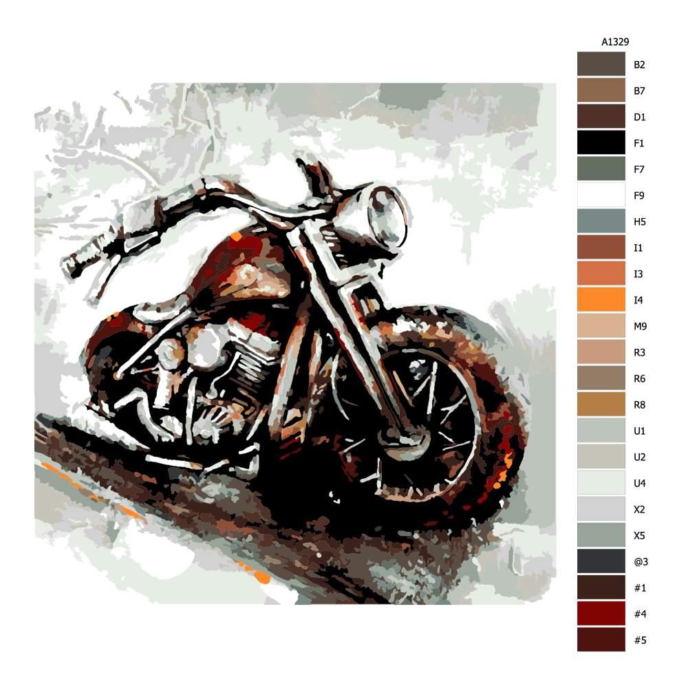 Návod pro malování podle čísel Motorka
