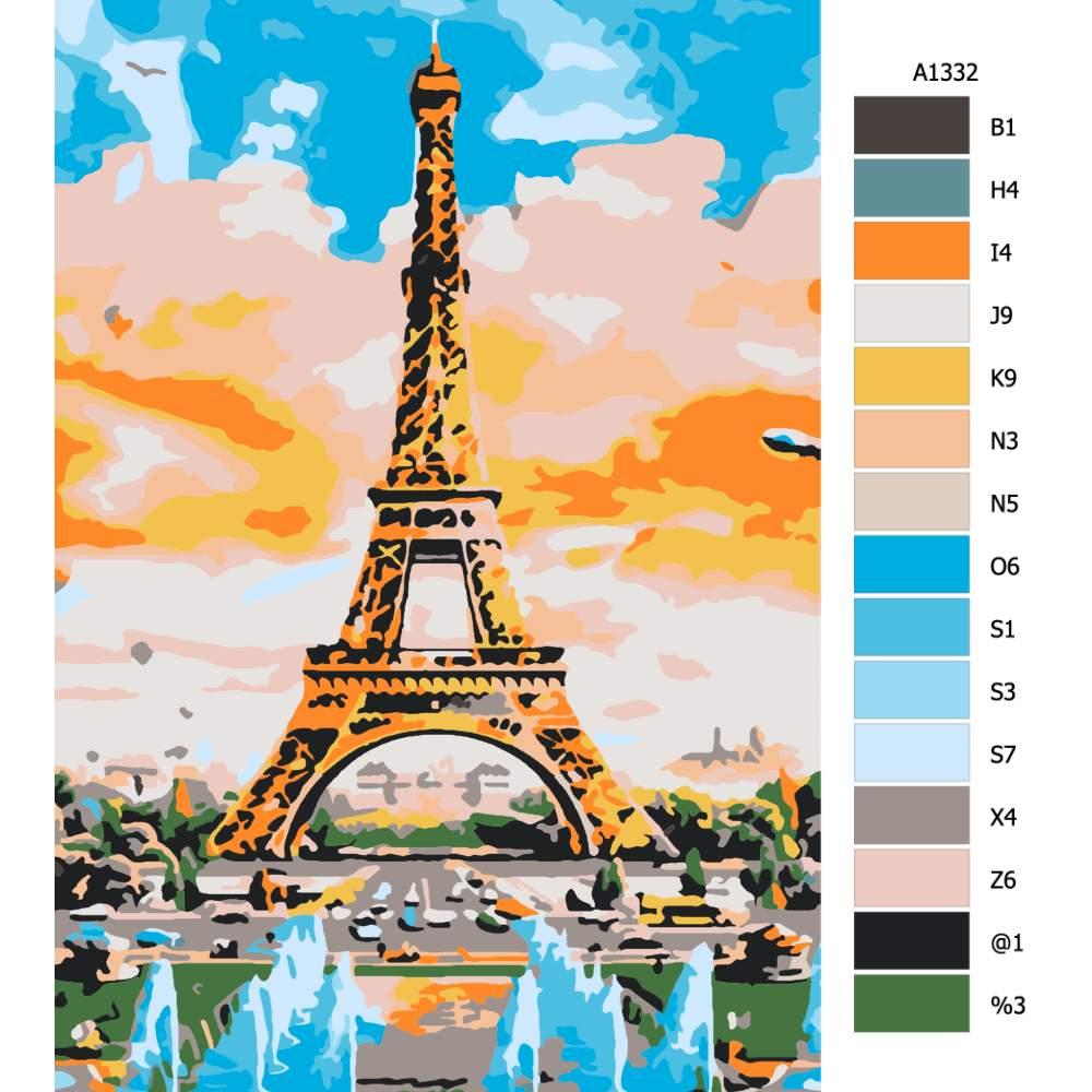 Návod pro malování podle čísel Eiffel Tower malba
