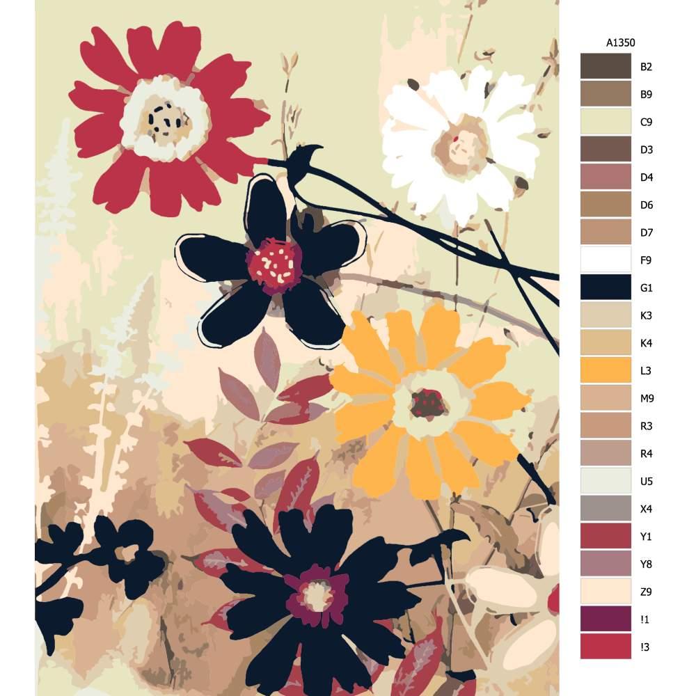 Návod pro malování podle čísel Květy na plátně