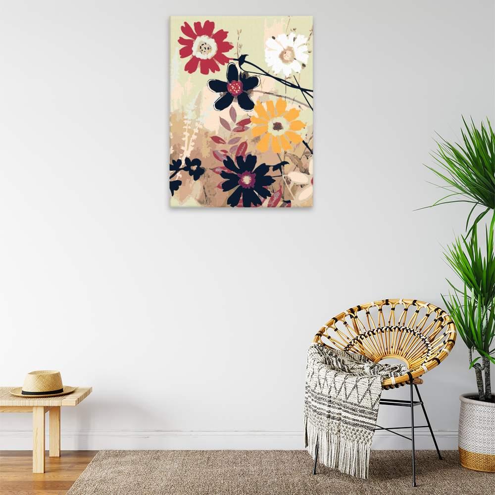 Malování podle čísel Květy na plátně