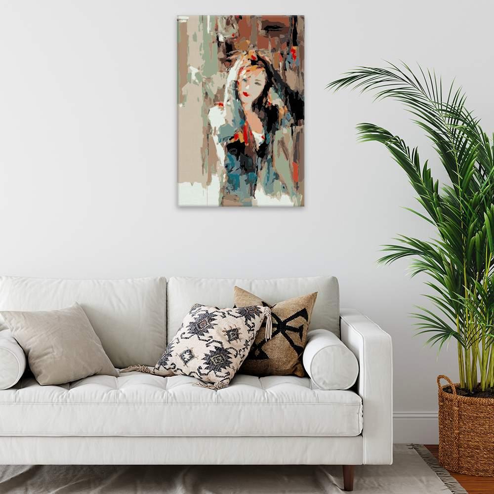 Malování podle čísel Žena držící se za hlavu