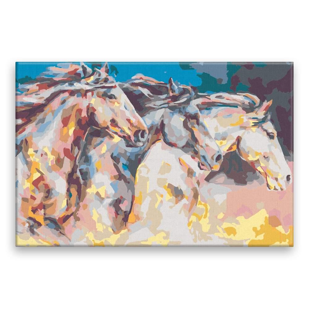 Malování podle čísel Koně v běhu