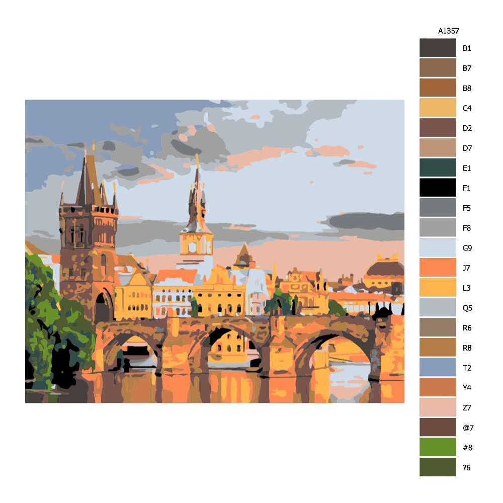 Návod pro malování podle čísel Karluv most