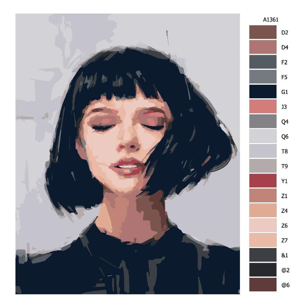 Návod pro malování podle čísel Žena s mikádem