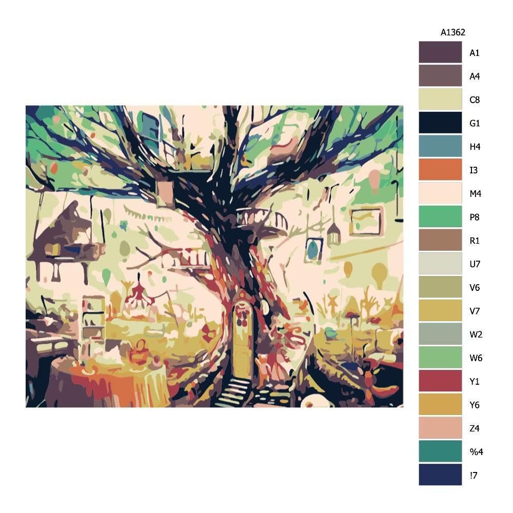 Návod pro malování podle čísel Stromový dům