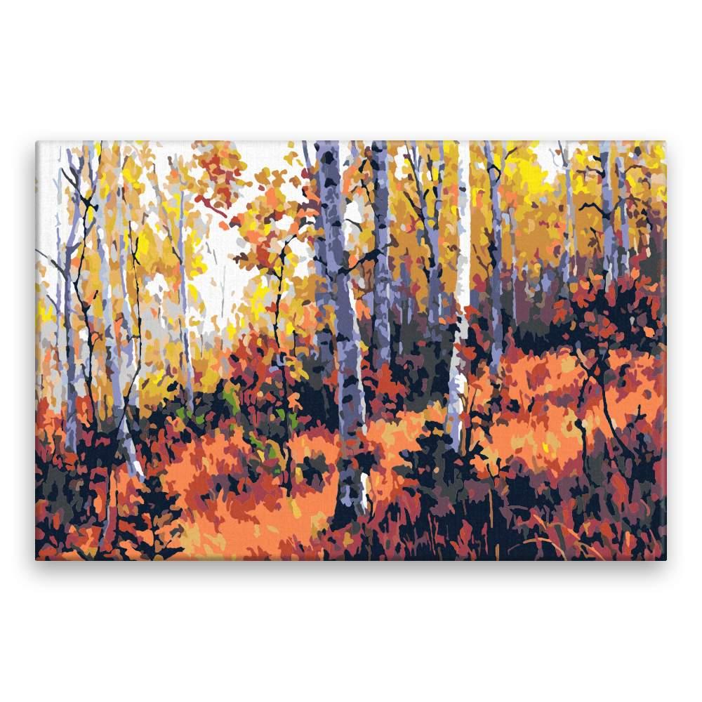 Malování podle čísel Podzimní břízy