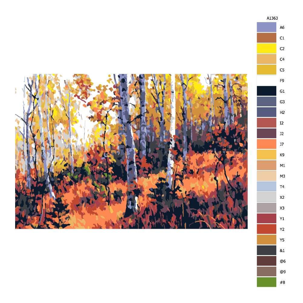 Návod pro malování podle čísel Podzimní břízy