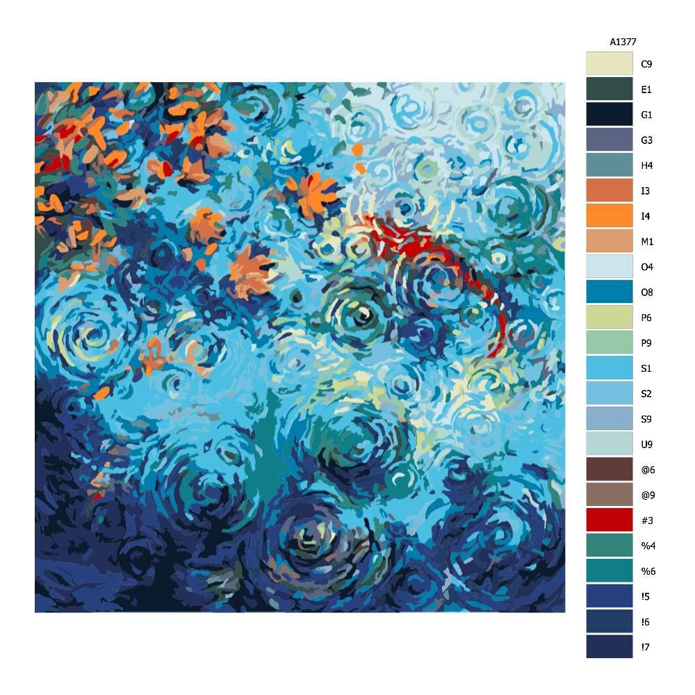 Malování podle čísel Rybí jezírko v dešti