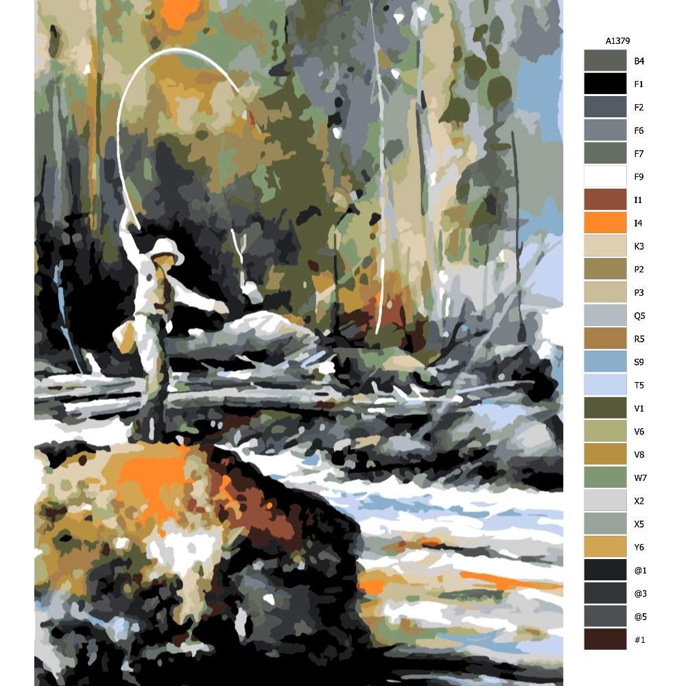 Návod pro malování podle čísel Rybář