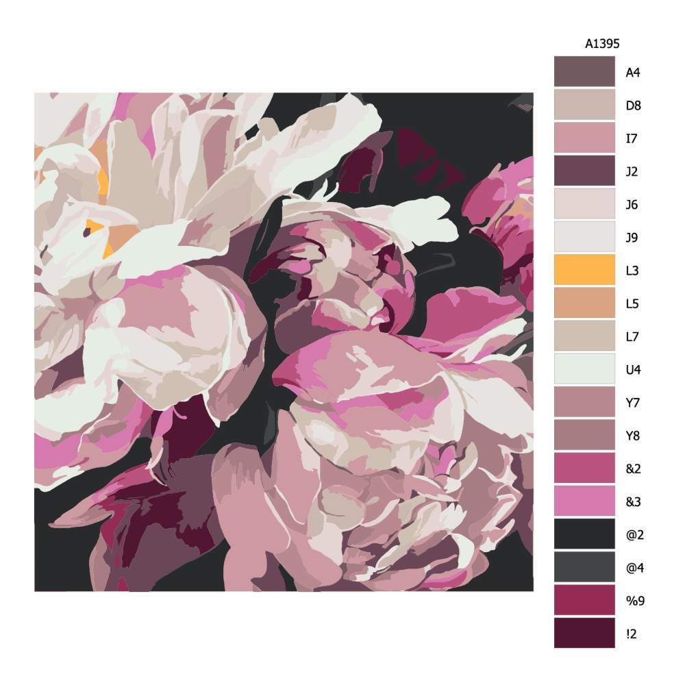 Malování podle čísel Květ pivoňky