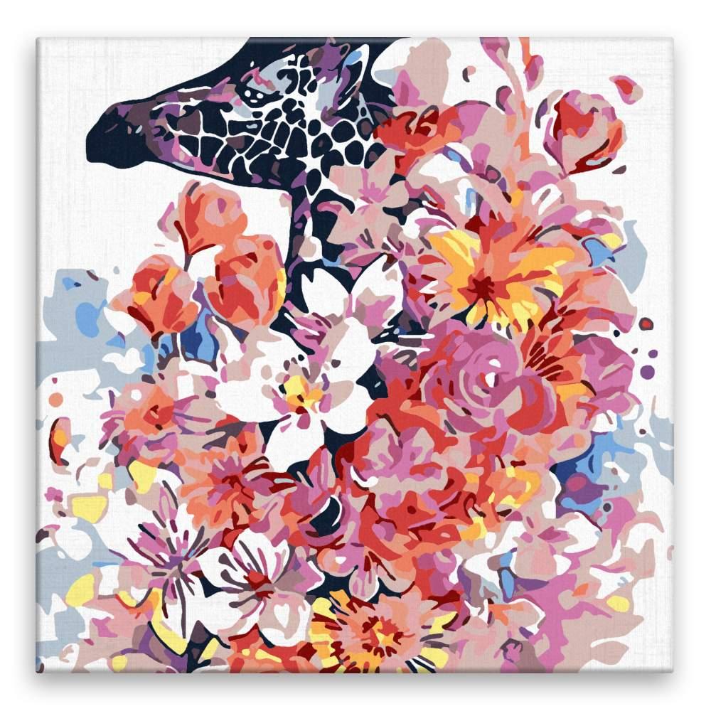 Malování podle čísel Žirafa v květinách