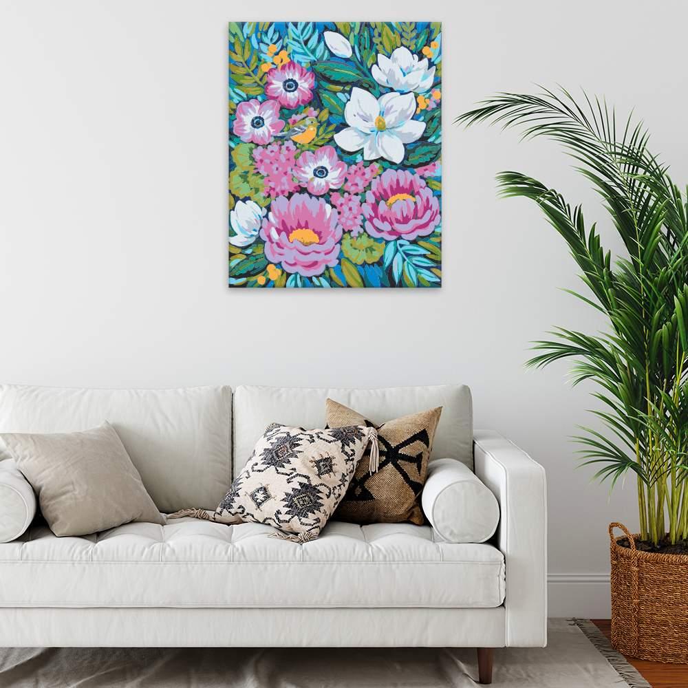 Malování podle čísel Ptáček v květinách