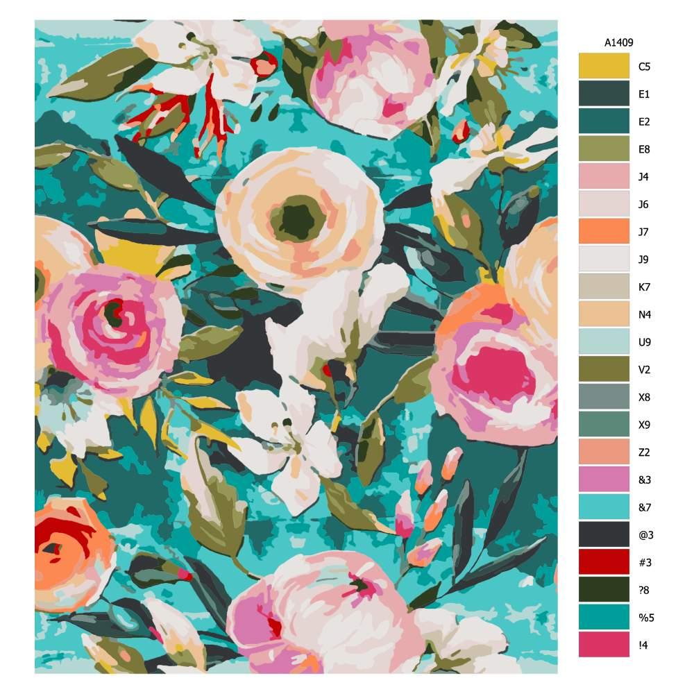 Návod pro malování podle čísel Květiny s modrým pozadím