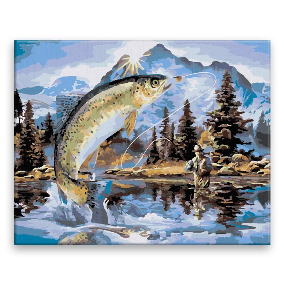 Malování podle čísel Ryba a rybář