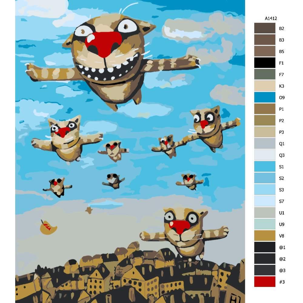 Návod pro malování podle čísel Létající kočky